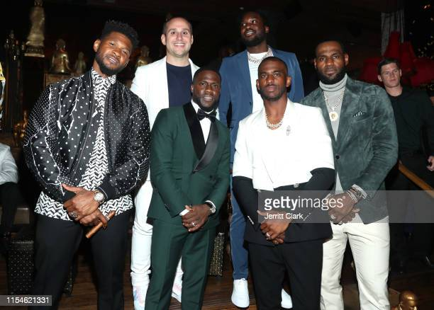 Usher, Michael G. Ruben, Kevin Hart, Meek Mill, Chris Paul, and LeBron James celebrate Kevin Hart's 40th birthday at TAO with LOUIS XIII Cognac and...