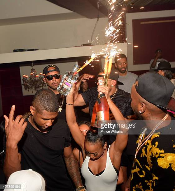 Usher Nelly and Young Jeezy attend Hip Hop Awards Grande Finale Hosted by Jeezy Future at Velvet Room on September 21 2014 in Chamblee Georgia