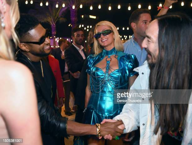 Usher, Paris Hilton, and Steve Aoki attend the Resorts World Las Vegas Grand Opening on June 24, 2021 in Las Vegas, Nevada.