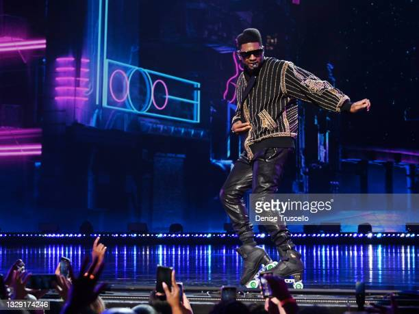 """Usher performs at the grand opening of """"USHER The Las Vegas Residency"""" at The Colosseum at Caesars Palace on July 16, 2021 in Las Vegas, Nevada."""