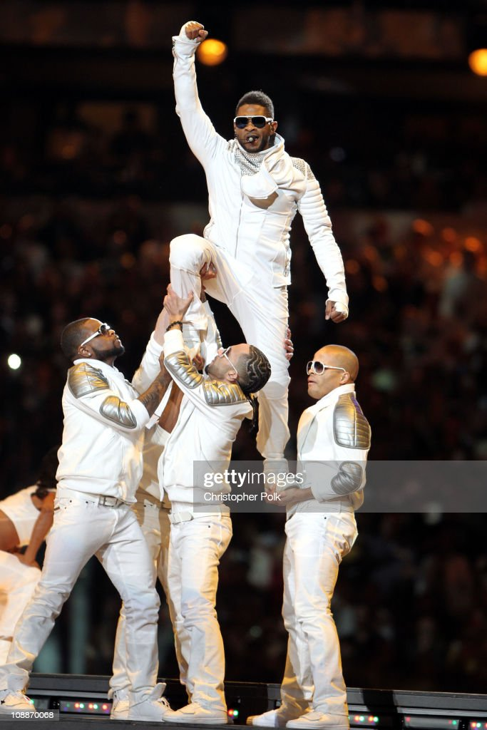 Usher performs during the Bridgestone Super Bowl XLV Halftime Show at Dallas Cowboys Stadium on February 6, 2011 in Arlington, Texas.