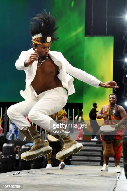 Usher performs during the Global Citizen Festival: Mandela 100 at FNB Stadium on December 2, 2018 in Johannesburg, South Africa.