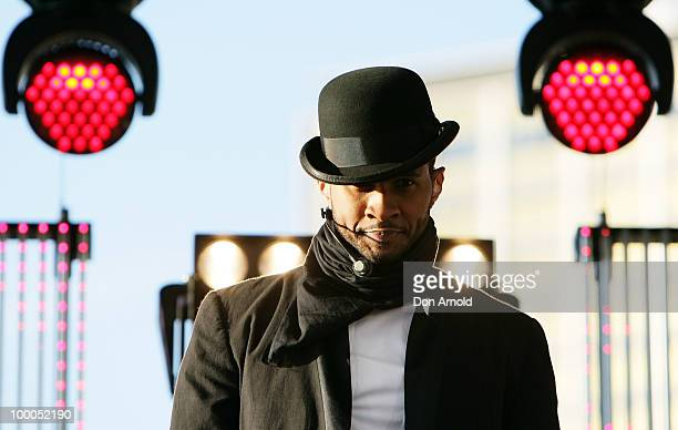 """Usher performs live for Seven's """"Sunrise"""" program at the Overseas Passenger Terminal on May 21, 2010 in Sydney, Australia."""