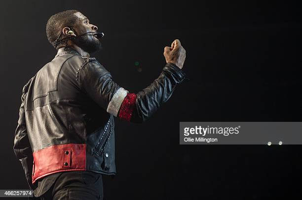Usher performs on stage during the opening night of his UK 2015 URXTour at Nottingham Capital FM Arena on March 14 2015 in Nottingham United Kingdom