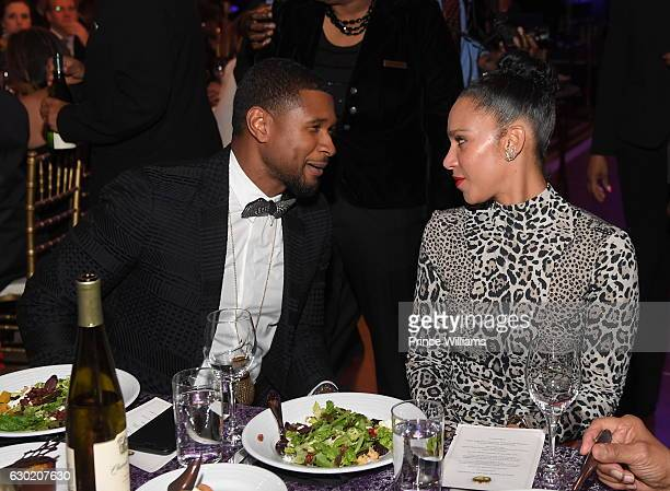 Usher Raymond and Grace Miguel attend the 33rd annual UNCF Mayors Masked Ball at Atlanta Marriott Marquis on December 17, 2016 in Atlanta, Georgia.