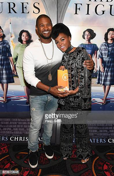 Usher Raymond and Janelle Monae attend Hidden Figures advanced screening hosted by Janelle Monae Pharrell Williams at Regal Cinemas Atlantic Station...