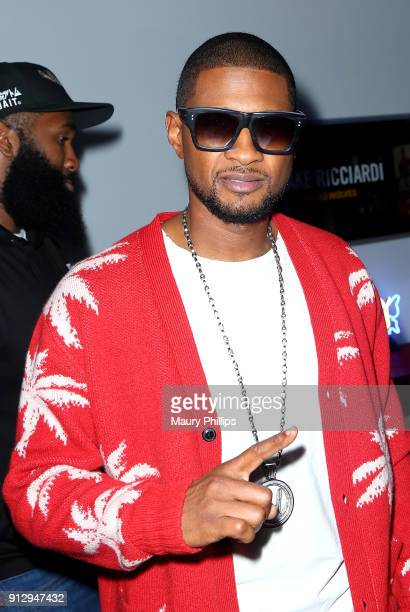 Usher Raymond attends Eric Bellinger's Reveal Party hosted by Teyana Taylor and Wale on January 31 2018 in Burbank California