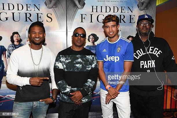 Usher Raymond Kawan 'KP' Prather and Kap G attend Hidden Figures advanced screening hosted by Janelle Monae Pharrell Williams at Regal Cinemas...