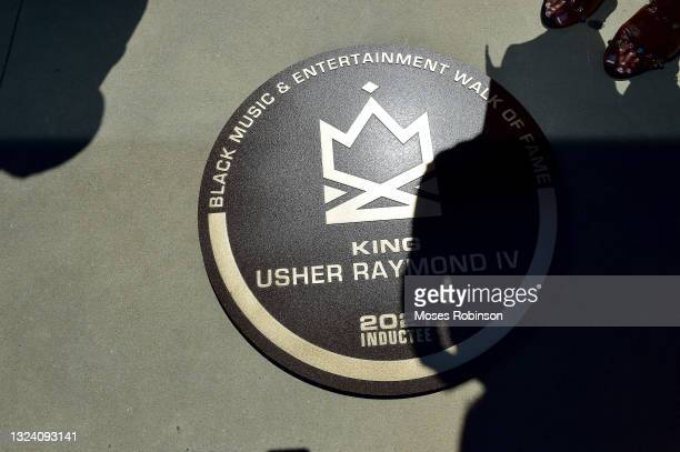 Usher Raymond's walk of fame plaque during the Black American Music Association and Georgia Entertainment Caucus Inaugural Induction Ceremony for...