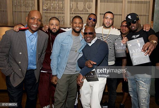 Usher LA Reid DJ Khaled AJ Calloway French Montana and Sean Combs pose for a photo at the LA Reid 'Sing To Me' PreGrammy Brunch at Hinoki The Bird on...