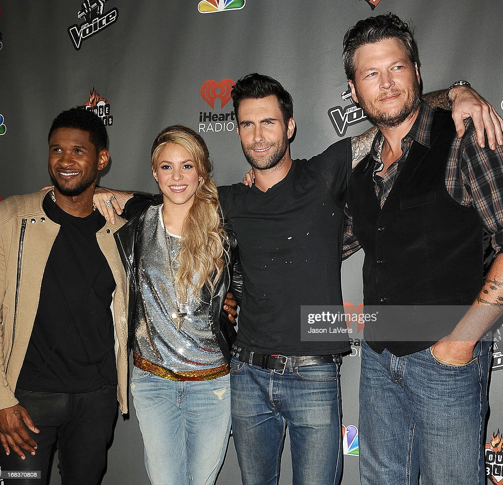 Usher, Shakira, Adam Levine and Blake Shelton attend 'The Voice' season 4 premiere at House of Blues Sunset Strip on May 8, 2013 in West Hollywood, California.