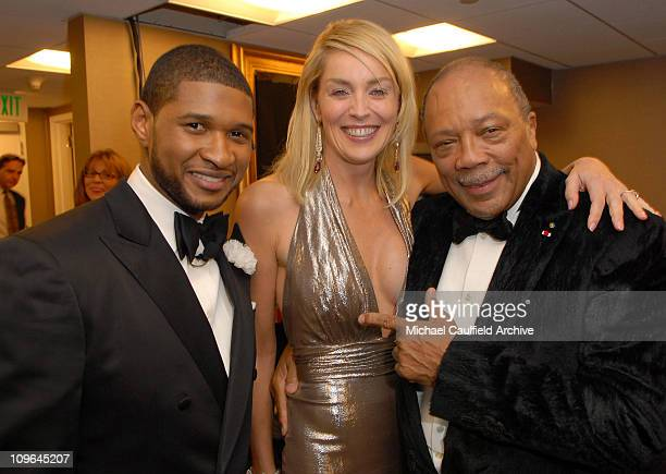 Usher Sharon Stone and Quincy Jones during MercedesBenz Presents the 17th Carousel of Hope Ball Backstage and Audience at Beverly Hills Hilton in...