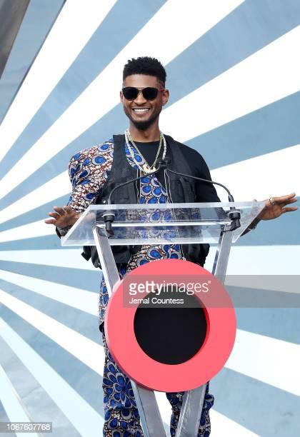 Usher speaks on stage during the Global Citizen Festival Mandela 100 at FNB Stadium on December 2 2018 in Johannesburg South Africa