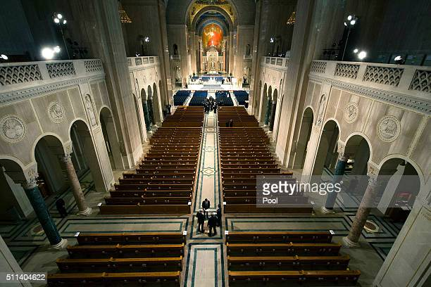 Ushers get ready for funeral Mass for Associate Justice Antonin Scalia at the Basilica of the National Shrine of the Immaculate Conception February...