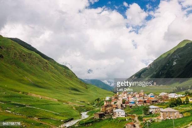 ushguli in the greater caucasus, georgia - caucasus stock pictures, royalty-free photos & images