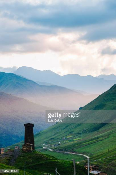 ushguli landscape at sunset - dafos stock photos and pictures