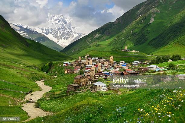 Ushguli village and Shkhara range