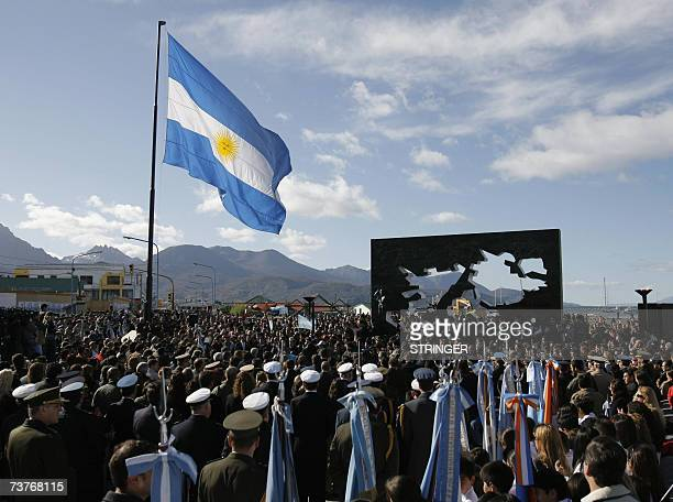 Argentina's Malvinas war veterans national and local authorities pay homage to the fallen in the Falkland war between Argentina and Britain in a...
