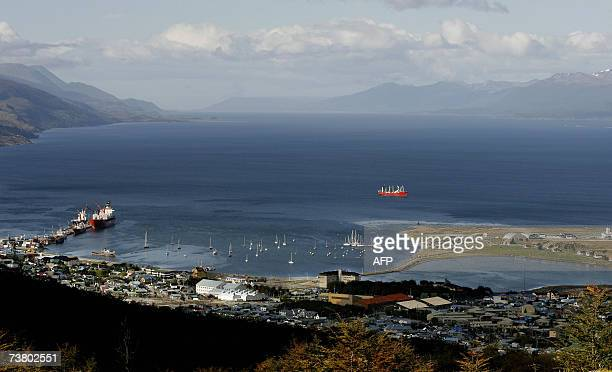 Picture of Ushuaia the capital of the Argentine province of Tierra del Fuego the world's southernmost city taken from the mountains 29 March 2007...