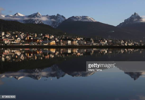 Ushuaia is reflected near the main docks on November 5 2017 in Ushuaia Argentina Ushuaia is situated along the southern edge of Tierra del Fuego in...