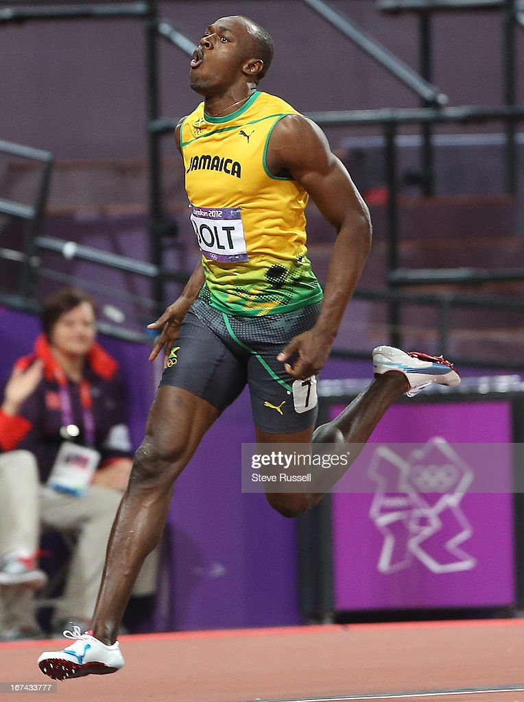 Usian Bolt defends his Olympic title in the 100 metre sprints with a new Olympic Record at the London 2012 Olympic Games at the Olympic Stadium.