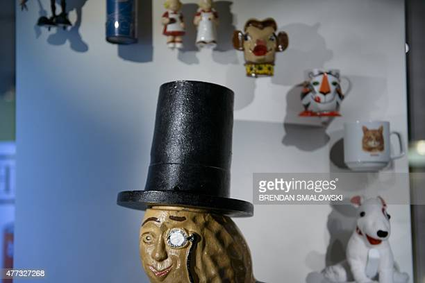 FAUR USindustryhistorymuseumheritageeconomy Planters's Mr Peanut is seen with other products at the American Enterprise Exhibition at the...
