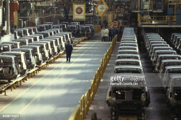 Usines Renault vides lors des grèves en avril 1982 à Aulnay-sous-Bois, France.