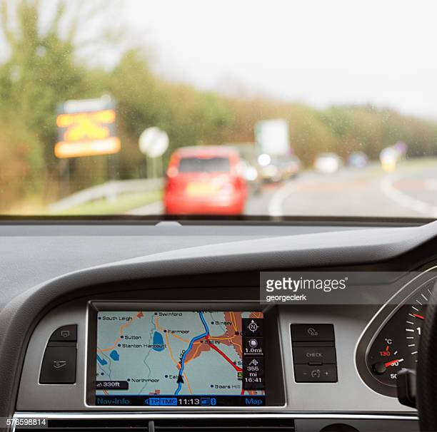 Using a built-in car satnav on a British trunk road