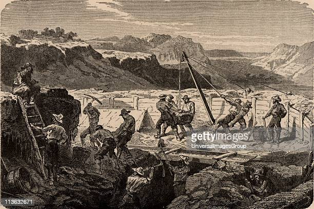 Using a 'long tom' to wash for gold in the Californian gold fields The miners diverted the water courses then dug out the orebearing sands which they...