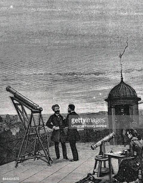 Using a small refractor to observe Mercury Venus and Jupiter from the roof of the Paris Observatory in 1868 Female assistant acting as recorder of...