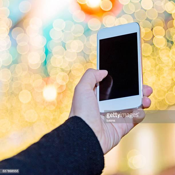 using a smart phone at night