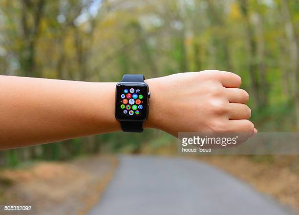 Using Apple Watch Sport in park