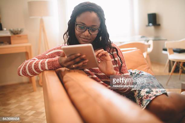 Using digital tablet at home