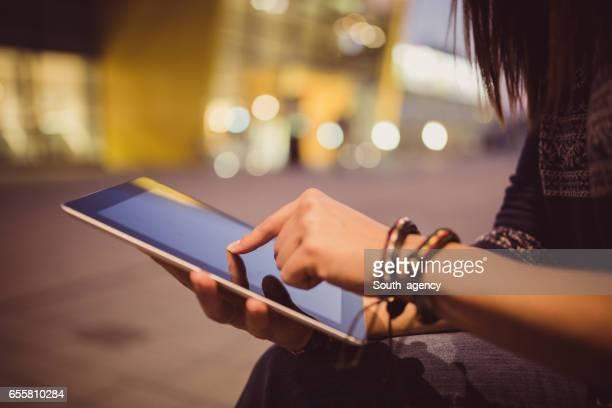 Using digital tablet outdoors