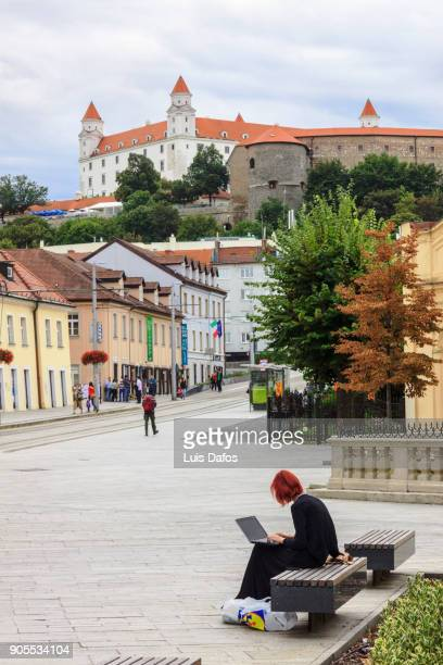 Using laptop under Bratislava castle