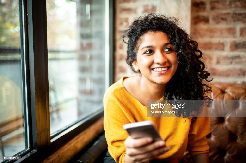Using mobile phone. : Stock Photo