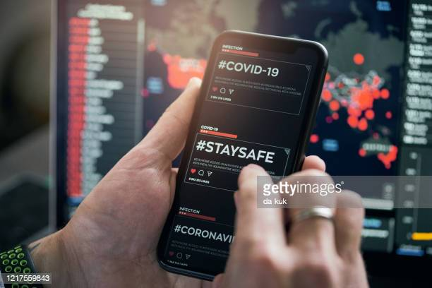 using #satysafe hashtag for social networking - covid icons stock pictures, royalty-free photos & images
