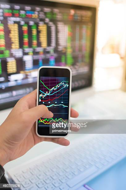 Using smart phone in Stock market graph and office work