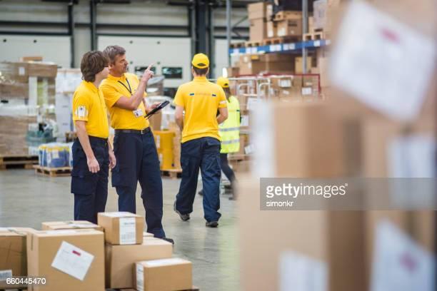 Using tablet at warehouse