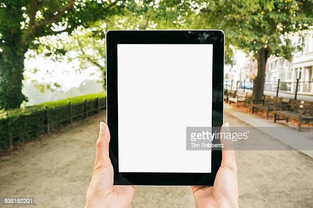 POV Using tablet.