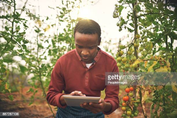 Using technology to manage his farm