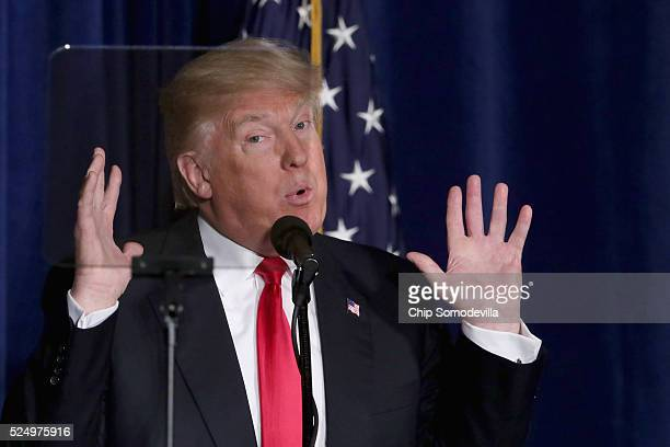Using teleprompters Republican presidential candidate Donald Trump delivers a speech about his vision for foreign policy at the Mayflower Hotel April...