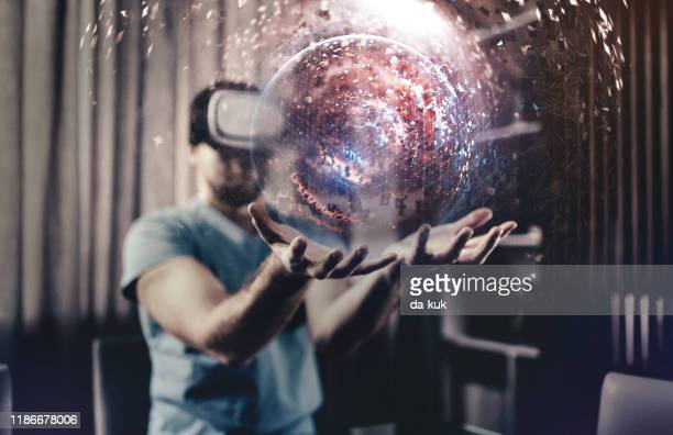 3dエンジニアリングにvr技術を使用する - 仮想空間の視点 ストックフォトと画像