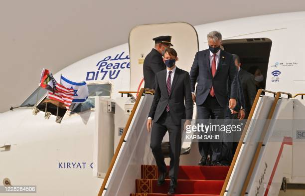 Israeli delegation led by US Presidential Adviser Jared Kushner disembark from an El Al's airliner, upon landing on the tarmac on August 31 in the...
