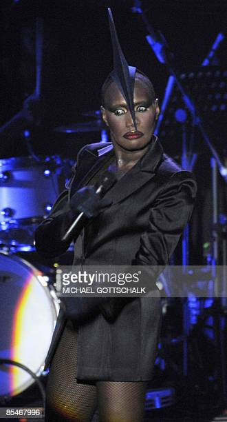 USJamaican singer Grace Jones performs on stage during a concert at the Tempodrom in Berlin on March 17 2009 The concert is part of her Hurricane...