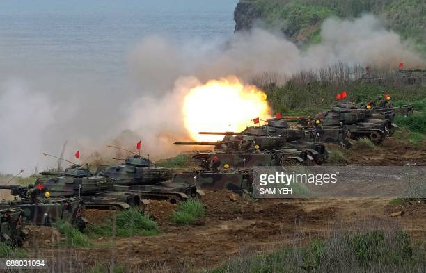 USmade M60 A3 tanks are fired during the Han Kuang lifefire drill some 7 kms from the city of Magong on the outlying Penghu islands on May 25 2017...