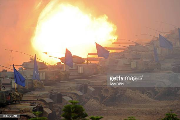USmade M60A3 tanks take part in a military drill in western Penghu islands on April 17 2013 Taiwan's defence ministry on April 17 staged its biggest...