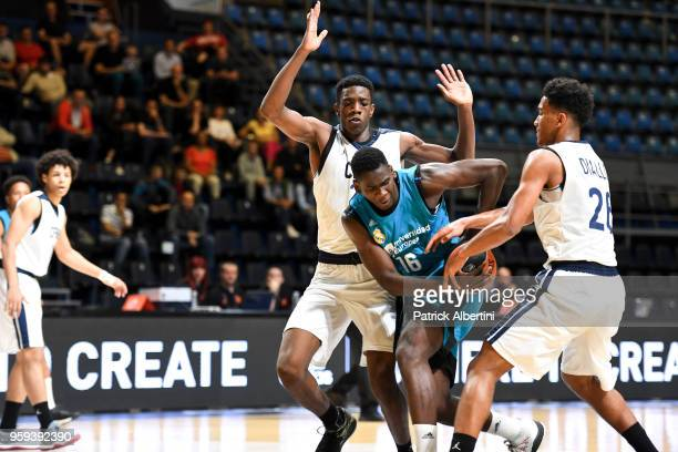 Usman Garuba #16 of U18 Real Madrid in action during the Adidas Next Generation Tournament game between U18 CFBB Paris v U18 Real Madrid at...
