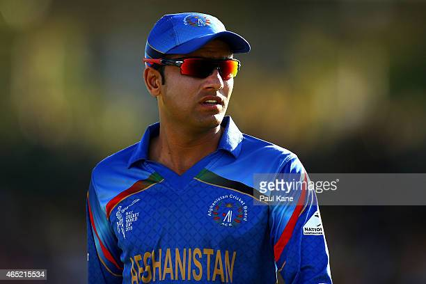 Usman Ghani of Afghanistan looks on during the 2015 ICC Cricket World Cup match between Australia and Afghanistan at WACA on March 4 2015 in Perth...