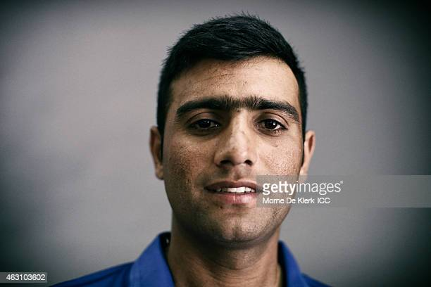 Usman Ghani of Afghanistan poses during the Afghanistan 2015 ICC Cricket World Cup Headshots Session at the Intercontinental on February 7 2015 in...
